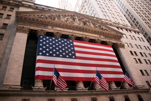 American flag on Wall Street, NY