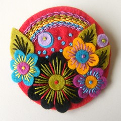 'OVER THE RAINBOW' FELT BROOCH (APPLIQUE-designedbyjane) Tags: flower rainbow handmade embroidery brooch felt applique freeform