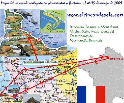 Mapa recorrido Normandia por ti.