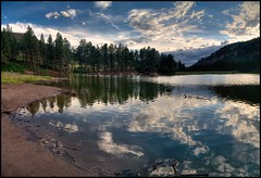 Fenton Lake Wallpaper (JoelDeluxe) Tags: panorama lake mountains newmexico stitch nm joeldeluxe hdr fenton picnik jemez