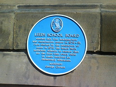 Photo of Leeds School Board and George Corson blue plaque