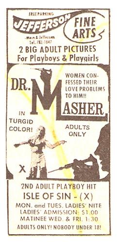 1971 Jefferson Fine Arts Adult Theatre Dr. Masher