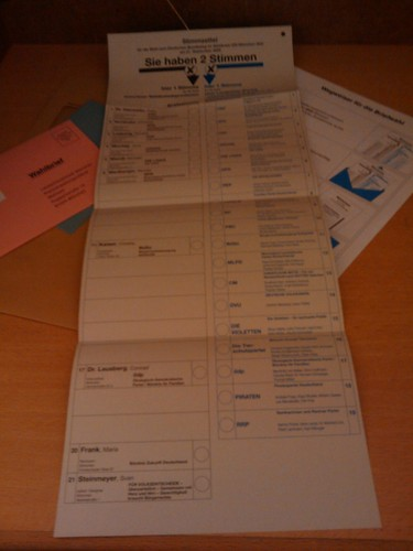German Parliamentary Elections Ballot