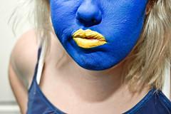 Blue & Yellow Experiment 2 (JessicaHume.) Tags: blue portrait face yellow hair nose nikon paint d70 skin expression lips ab400