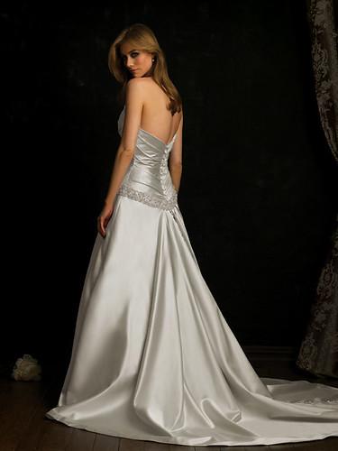 Plaid design on the bridal dress.