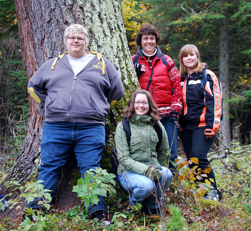 Envirothon team members Dion Deserre, Michelle Arsenault and Reanne Dick along with Mrs. Kathy Boone at the Vernon Trails in Kenora.