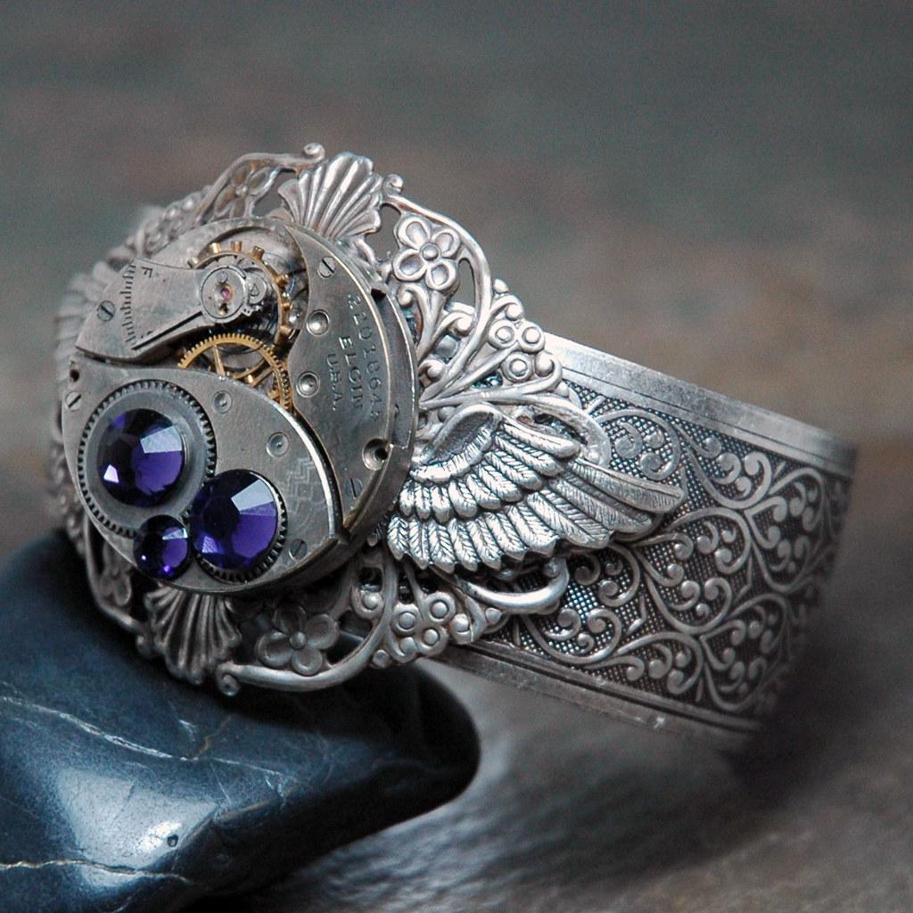 Amethyst Steampunk Wing Cuff