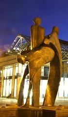 Hugs (Tony Shertila) Tags: longexposure england sculpture statue night chester