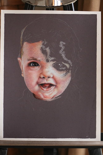 In progress colored pencil portrait of my son, Emre.