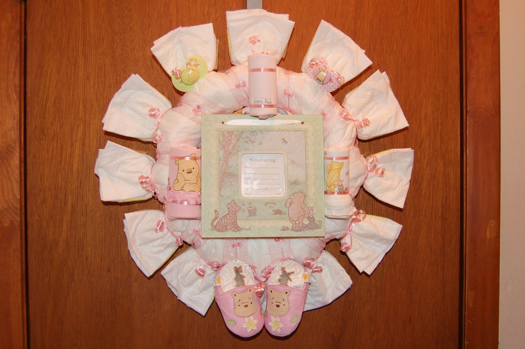 Pink Classic Pooh Diaper Wreath