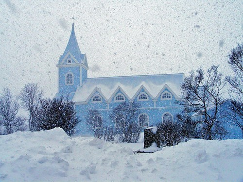 church in deep winter