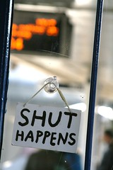 Shut... happens! (Peter Denton) Tags: uk england london coffee station sign train closed eu railway lettering middlesex westlondon pun shut twickenham playonwords londonist lifeisart canoneos400d londonboroughofrichmond peterdenton