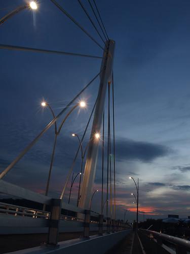 Twilight along the landmark bridge