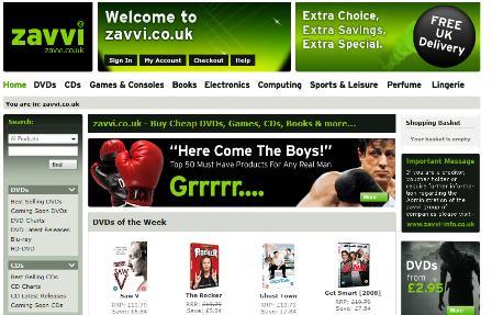 Zavvi homepage