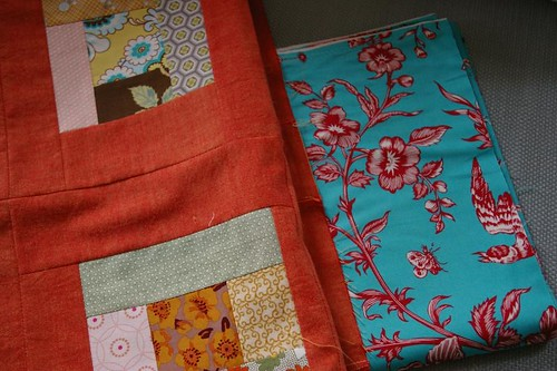 Frames quilt - with backing fabric