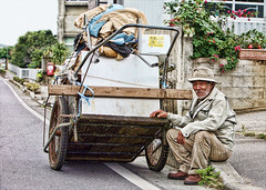 Cart Man (karen walzer) Tags: old people japan homeless elderly okinawa cart okinawan downandout hardtimes hardluck