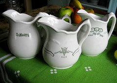The Three Graces of Restaurant Ware (prima seadiva-moving slow) Tags: green vintage fraternal pitcher greenline oddfellows oes ioof restaurantware orderoftheeasternstar topmark
