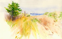 Ore Boat Going Into the Fog, Whitefish Point (Artist Naturalist-Mike Sherman) Tags: fall fog watercolor painting landscape paradise michigan whitefishbay upperpeninsula whitefishpoint orecarrier edmundfitzgerald orefreighter