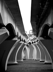 Under the Woodrow Wilson Bridge (B&W) (andertho) Tags: bridge dc washington save dcist in2 woodrowwilsonbridge out1 out3 in10 in3 in6 in8 out4 in5 in9 out5 out6 out7 in7