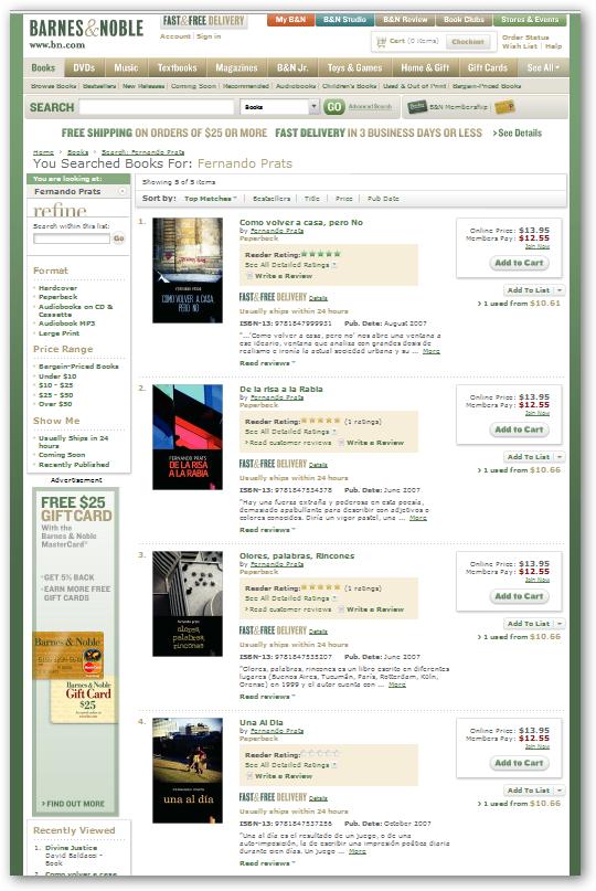 Barnes & Noble: fernando prats