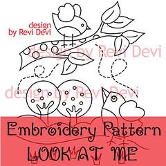 look at me (revi1001) Tags: original bird art illustration birdie design pattern embroidery etsy outline revidevi