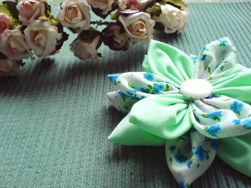 Blue Hue Fabric Flower
