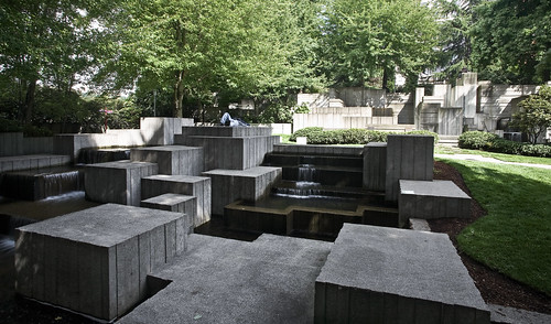 Seattle Freeway Park Across Main Fountains