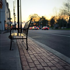 Dusk Relaxation (Inside_man) Tags: cars 120 6x6 tlr film colors silhouette mediumformat bench golden twilight colorful minolta bokeh pavement sidewalk taillight autocord minoltaautocord fuji400h duskrelaxation