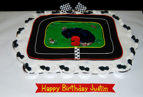 Cars and dinosaur 3rd birthday cupcake cake