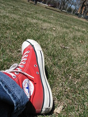 Red Converse All-Star Walks Labyrinth, Saint Paul, Minnesota, April 2009, photo © 2009 by QuoinMonkey. All rights reserved.