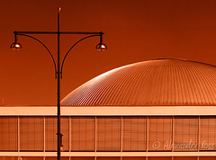 (92) Kongresshalle Alexanderplatz (Berlin, Germany) (Berlinalex) Tags: street city red orange brown color reflection building berlin tourism beautiful architecture bronze germany geotagged gold landmark olympus center lamppost congress alexanderplatz moire reflexion bcc kongresshalle e510 50mmmacro20 alemdagqualityonlyclub