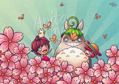 Totoro fanart (Anita Mejia) Tags: girls mixedmedia totoro sakura neighbor buterfly inks chocolatita anitamejia