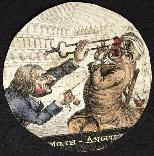 Mirth - Anguish (coloured print of dentist drawing tooth from patient)