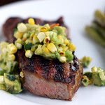 NY Strip Steaks with Grilled Corn and Avocado Salsa