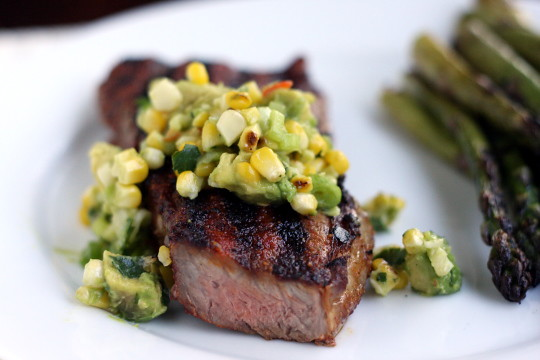 New York Strip with Grilled Corn and Avocado Salsa