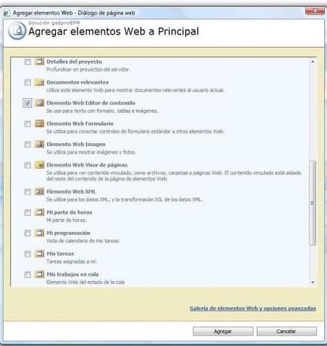 Elemento web Editor de Contenido