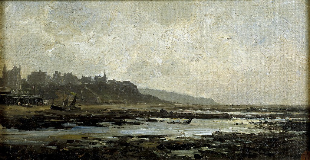 Carlos de Haes (Brussels, 1826-Madrid, 1898) Playa de Villerville, Normandy (c. 1880) Oil on canvas. 22 by 40 cm. Museo Nacional del Prado, Madrid.