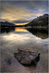 Between a Rock and a Wet Place (Extra Medium) Tags: sunset lake clouds scenery colorado compassion sinner hdr rockymountainnationalpark lilylake 3616 visionqualitygroup sorryijusthaveabadfeelingabouttoday