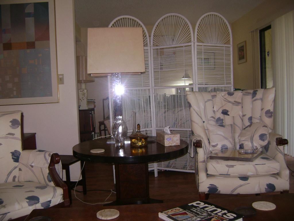 11-LR - Chairs & Burl Walnut Table - Looks toward Office