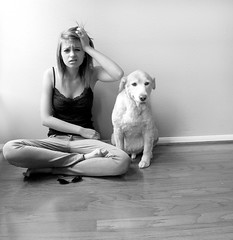 i regarded the world as such a sad sight until i viewed it in black and white. day 89 (holly henry) Tags: dog selfportrait goldenretriever lyrics song bald owlcity iregardedtheworldassuchasadsightuntilivieweditinblackandwhite