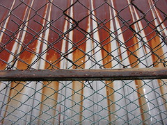 chain link & rusty roof (Samm Bennett) Tags: roof japan fence tin tokyo rusty chain link yahiro