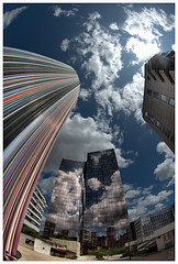 Straws to the Sky (fs999) Tags: cloud paris france pentax wolke fisheye nuage parvis ladfense dfense aficionados artcafe alignements vob digitalcameraclub da1017 k20d vuedenbas ashotadayorso justpentax pentaxk20d topqualityimage pentaxda1017mmf3545 flickrlovers topqualityimageonly fs999 pentaxart mondeencourbes