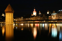 Lucerne by night, Switzerland (**Anik Messier**) Tags: sunset mountain reflection monument river switzerland europe suisse watertower treasury luzern landmark prison harmony pont lucerne reflets woodenbridge wasserturm touristattractions watchtower pinkclouds guildhall chapelbridge kapellbrcke reuss torturechamber pontcouvert reussriver mywinners worldbest citrit oldestwoodenbridgeineurope theperfectphotographer