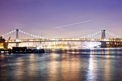 williamsburg bridge (Milton CJ) Tags: nyc newyorkcity longexposure bridge brooklyn night river 50mm nightshot williamsburg williamsburgbridge northsidepiers canonef50mmf12lusm