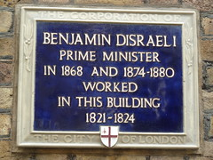 Photo of Benjamin Disraeli blue plaque