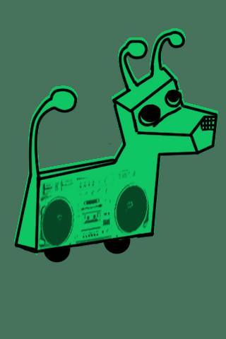 robot dog with boom box