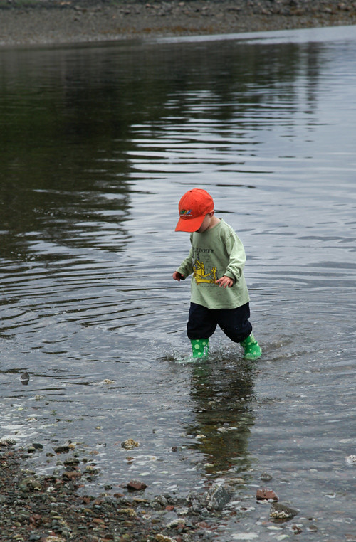 small boy in the water, near the beach, Kasaan, Alaska