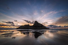 Tide Lines (Nick Twyford) Tags: sunset newzealand seascape backlight clouds reflections blacksand nikon waves wideangle nopeople auckland nz northisland westcoast karekare singleimage colourimage nothdr leefilters 1024mm d7000 lee09nd panatahiisland lee06gndsoft phottixgeoone mirrorsand