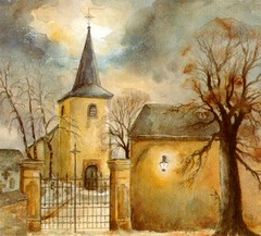 Art: watercolour: ...space of time for a prayer ...Le temps d'une prire..., Bavigne, Luxembourg (Nadia Minic) Tags: light sky tree art church watercolor painting licht photo europe artist gallery foto lumire kunst aquarelle kultur prayer kirche himmel galerie exhibition exposition ciel painter watercolour dmmerung luxembourg crpuscule artcontemporain arbre glise baum oeuvre couleur atelier augenblick posie aquarell beauxarts galles maler harmonie gebet acquarello prire symbolisme wasserfarben athmosphre pittrice artistepeintre bavigne aquarelliste watercolourpainter nadiaminic aquarellistin aquarellmalerin spaceoftime luxembourgpainting peintureluxembourg