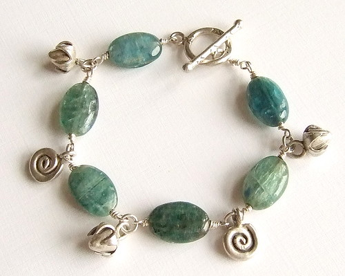 Kyanite and Thai Hill Tribe Silver Charm Bracelet in Fine Silver by Lumina Jewelry